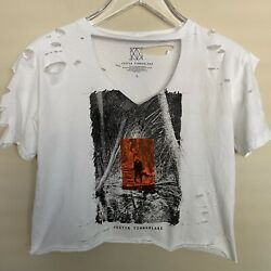 Justin Timberlake   Women's Upcycled Distressed Cropped T-Shirt - Size Large #2