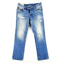 Abercrombie & Fitch 31x30 Slim Straight Jeans Button Fly Distressed Heavy Denim