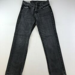 Abercrombie & Fitch Jeans 38x30 Black Denim Straight Fit Button Fly Mens G6_11