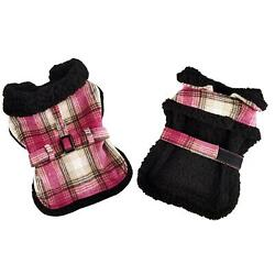 Sherpa-Lined Dog Harness Coat - Hot Pink & Tan Plaid with Matching Leash XS-2XL