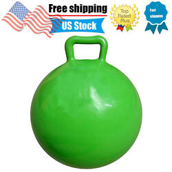 Green Color Kids Jumping Hop Ball Toy Inflatable Bouncing Ball with Handle C1V4