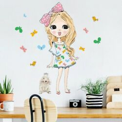 Flying Butterfly Fashion Girl Wall Stickers Living Room Kids Room Vinyl Decals