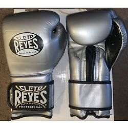 Cleto Reyes Hook & Loop Boxing Gloves; 14 Oz; Silver; Made In Mexico; Brand New!
