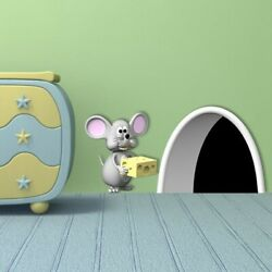 3D Mouse Cheese Hole Wall Stickers For Kids Room Living Room Home Mural Decals