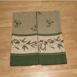 Better Homes Tuscan Olives Green Beige Window Curtain CafeTiers (2) 30w x 36L