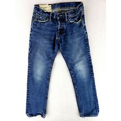 Abercrombie & Fitch 28x30 Slim Straight Button Fly Jeans Classic Denim Faded