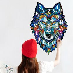 Color Puzzle Wolf English alphabet Wall Stickers Living Room Bedroom Mural Decal