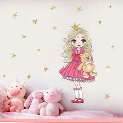 Cartoon Bear and Princess Wall Stickers For Girls Room Bedroom Mural Wall Decals