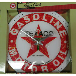 NEW Texaco 13.75'' Glass Clock! Distressed Vintage Appearance Gasoline Motor Oil