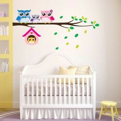 Cartoon Owl Family On Tree Wall Stickers For Kids Room Home Mural Wall Decals