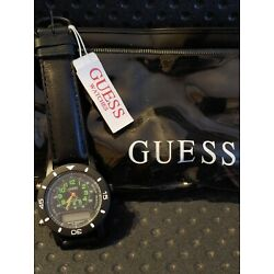 VTG 1993 Guess Leather Stop Watch Black Quartz w/Tag Needs Battery Non Working
