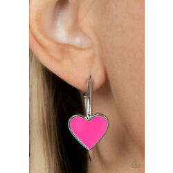 Paparazzi Earrings ~  Kiss Up - Pink