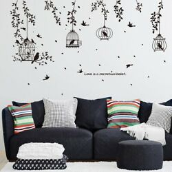 Black Birdcage and Leaves Wall Sticker For Living Room Home Bedroom Vinyl Decals