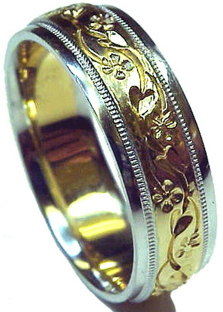 New Hand Engraved Two Tone Gold Men S Wedding Ring Ebay