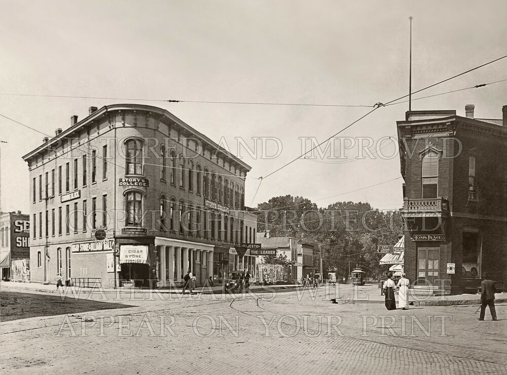 Portage Wisconsin WI Square Downtown 1910 Photo CHOICES