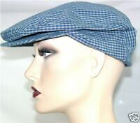 New NWT Newsboy Blue Checker Cabbie Flat Cap Hat S/M