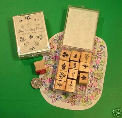 Mini country florals rubber stamp set 12 wood mounted ebay for Custom craft rubber stamps