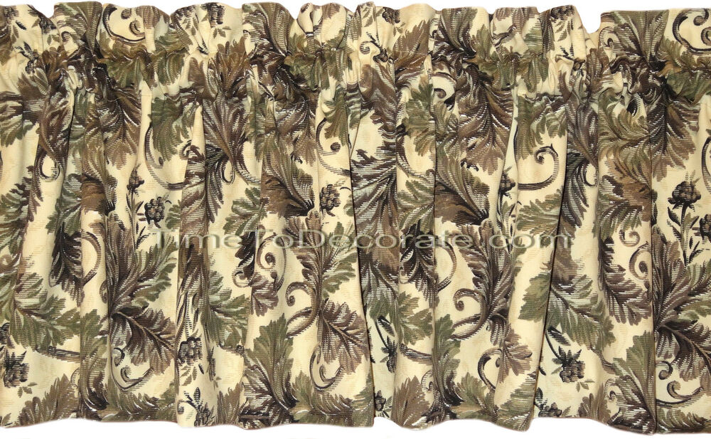 New Custom Valance Leaf Scroll Greens Finley Grape Lined