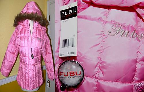 Fubu girls puffy pink jacket msrp 115 size 10 12 ebay