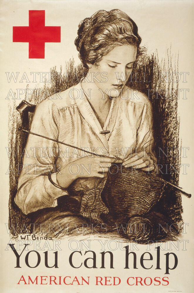 knitting red cross wwi 1918 poster repro photo choices 5x7