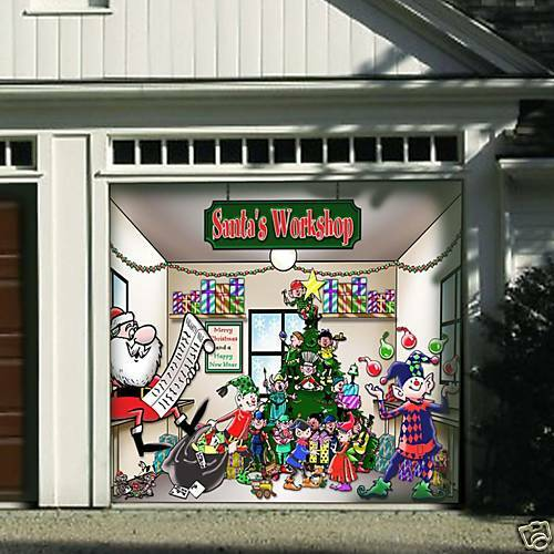 Huge santa 39 s workshop garage door decor cover 1 car ebay for Christmas garage door mural