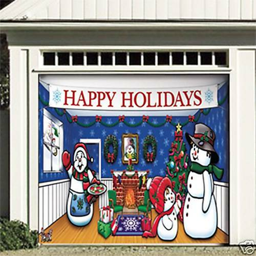 Snowman christmas garage door decor holiday single car ebay for Christmas garage door mural
