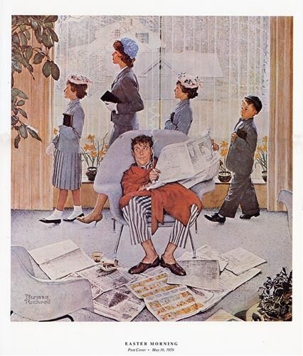 Norman Rockwell Family Church Print Easter Morning Ebay