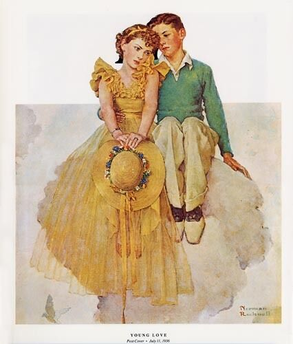 Norman Rockwell Young Boy Girl Romance Print YOUNG LOVE