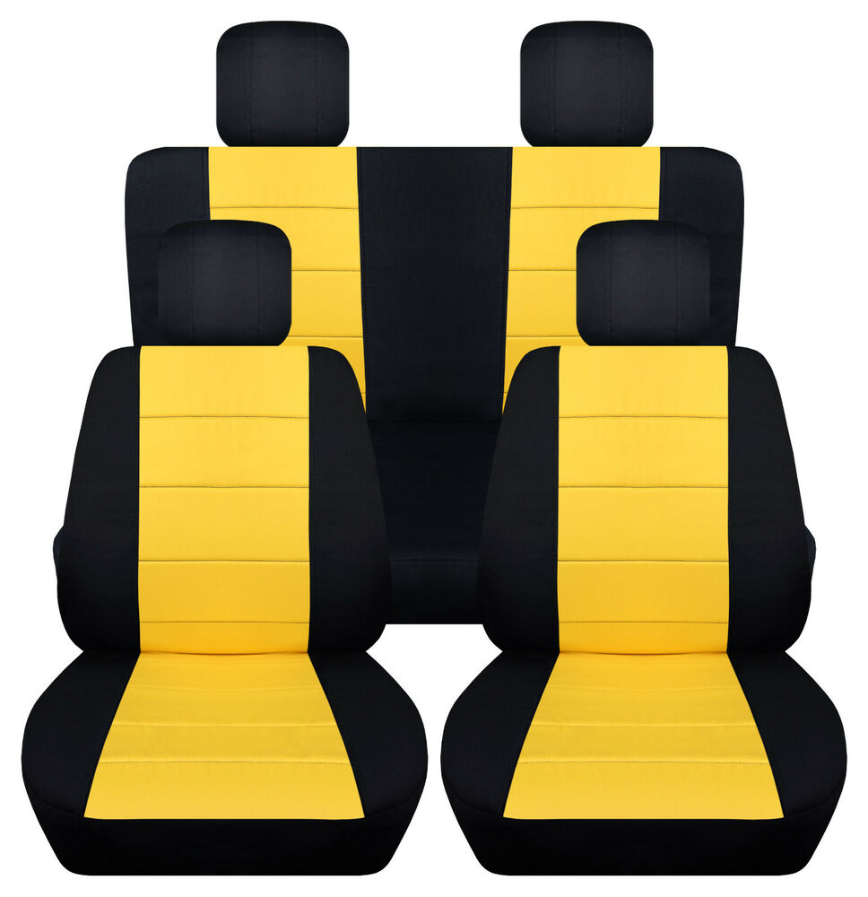 cool vw beetle car seat covers fr rr 4hr blk yellow more color available ebay. Black Bedroom Furniture Sets. Home Design Ideas
