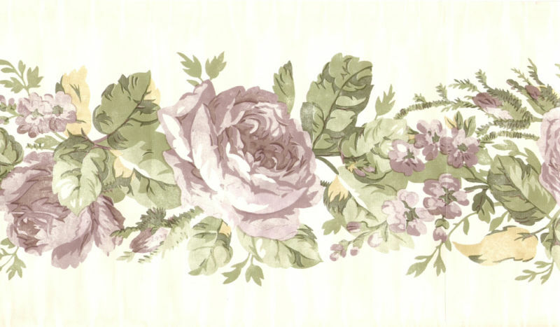 victorian lavender roses on white backround wallpaper