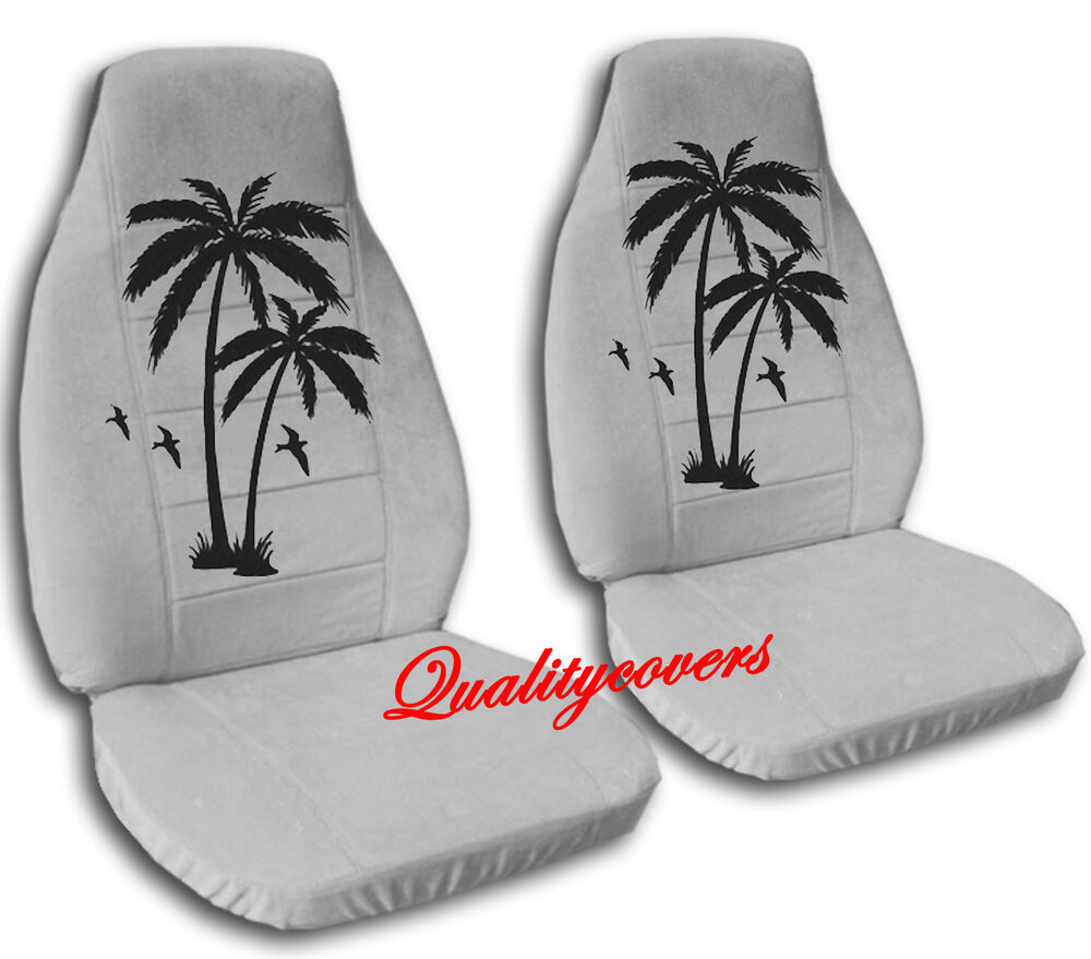 2 Front Silver Palm Tree Seat Covers Universal Size Ebay