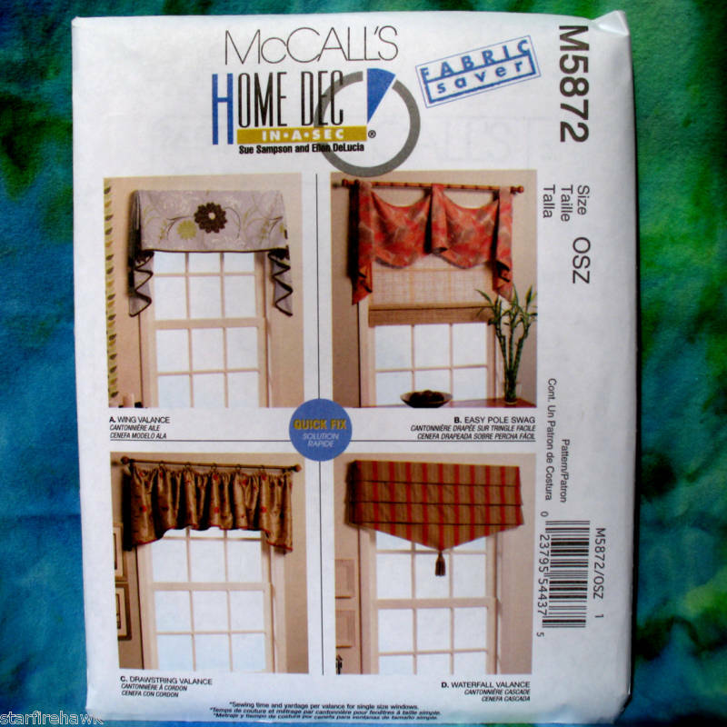McCall's 5872 Home Decor Window Treatments Pattern New
