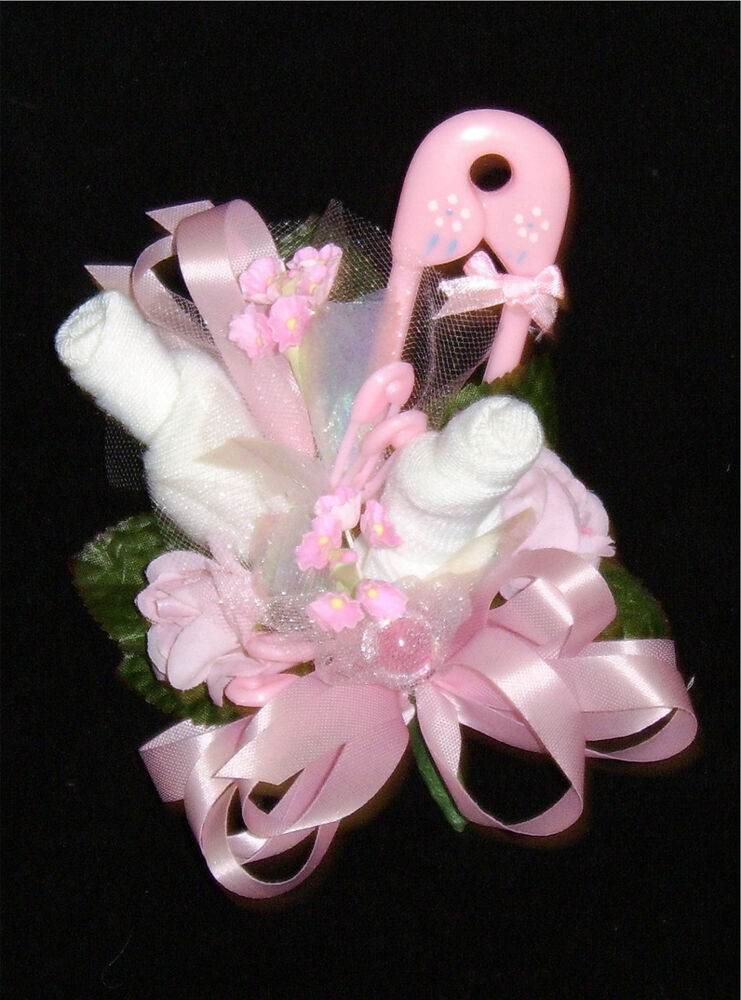Baby Shower Corsage With Pink Big Pin Rattle Handmade Ebay