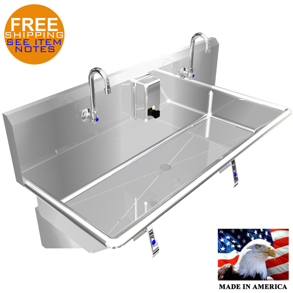 Hand Wash Up Sink 42 Quot 2 Users Multistation Knee Valve