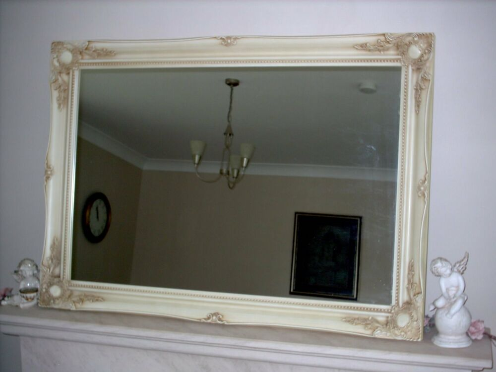 Ivory cream extra large wall mirror 30 x 42 75cm x for Extra large mirrors