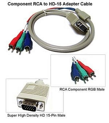 Component Video 3 RCA To D-sub 15 Pin Adapter Cable
