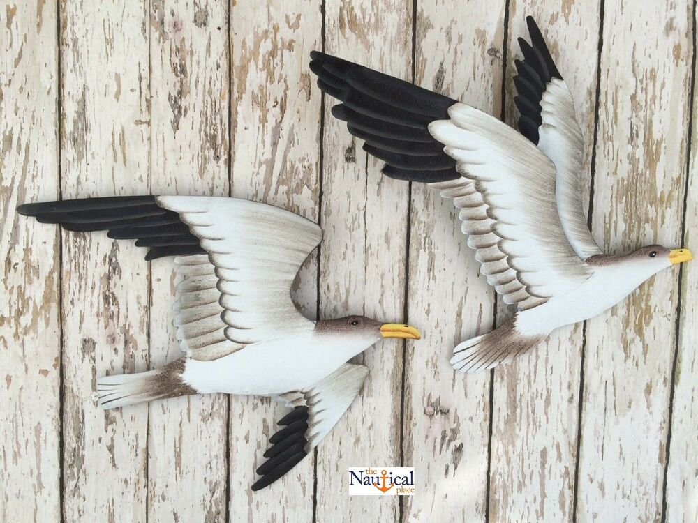 2 metal seagull wall plaques nautical beach decor for Bird wall art