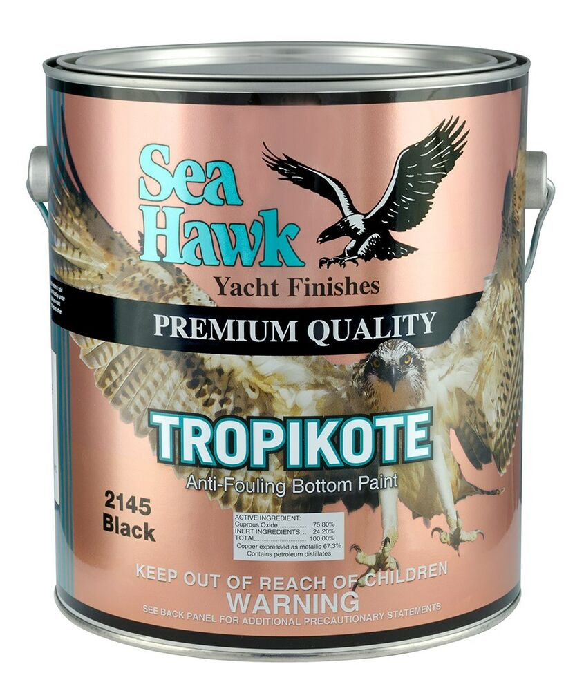 Sea hawk tropikote hard bottom paint gallon black ebay for Seahawk boat paint