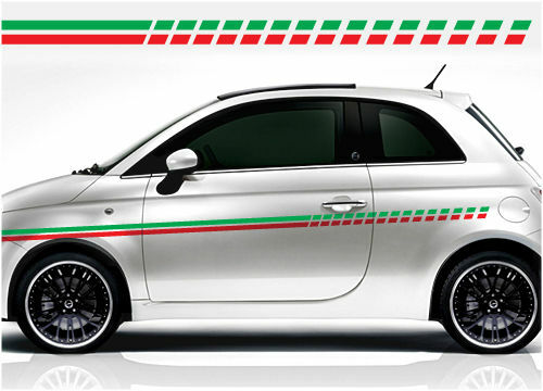 fiat racing stripe stickers punto stilo 500 ebay. Black Bedroom Furniture Sets. Home Design Ideas