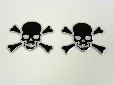 2 Black Skull Cross Bones Evil Skeleton Emblems Badges Ebay
