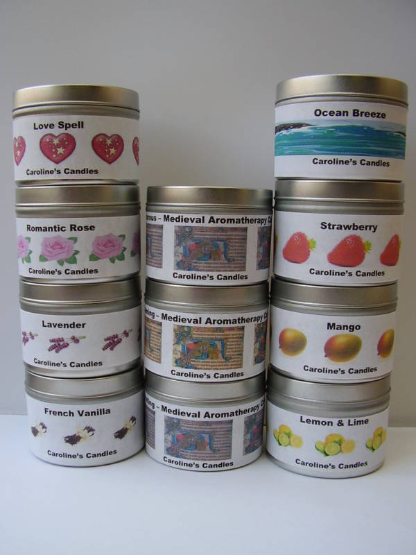 Handmade scented aromatherapy coloured container candle for Aroma candle and scent company