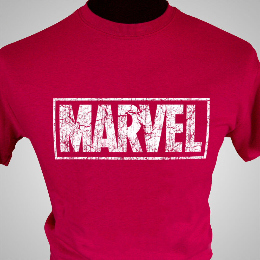 Marvel retro logo t shirt captain america hulk iron man for Old logo t shirts