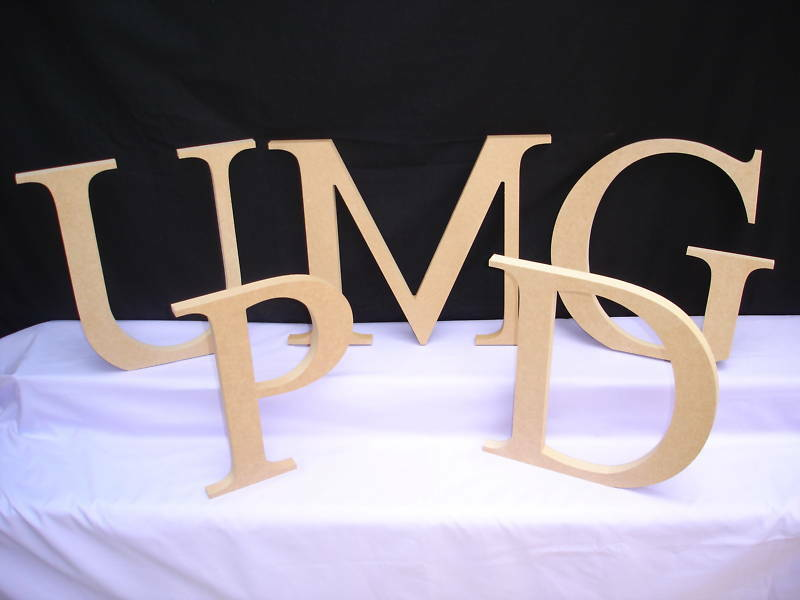 Freestanding wooden letters 30cm unpainted mdf ebay for Ebay wooden letters