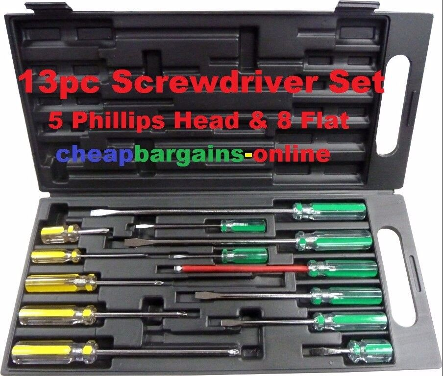 13pc screwdriver set in case phillips head flat screwdrivers set new hand tool ebay. Black Bedroom Furniture Sets. Home Design Ideas