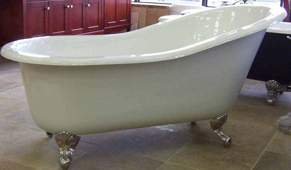Cast iron clawfoot claw foot slipper bath tub bathtub ebay for Claw foot soaker tub