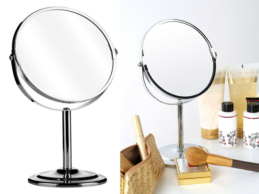 Chrome shaving mirror swivel free standing cosmetic make up 2 x magnifying sided ebay for Magnifying bathroom mirror on stand