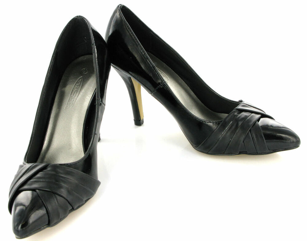 designer heels patnent black court shoes womens size 7 ebay