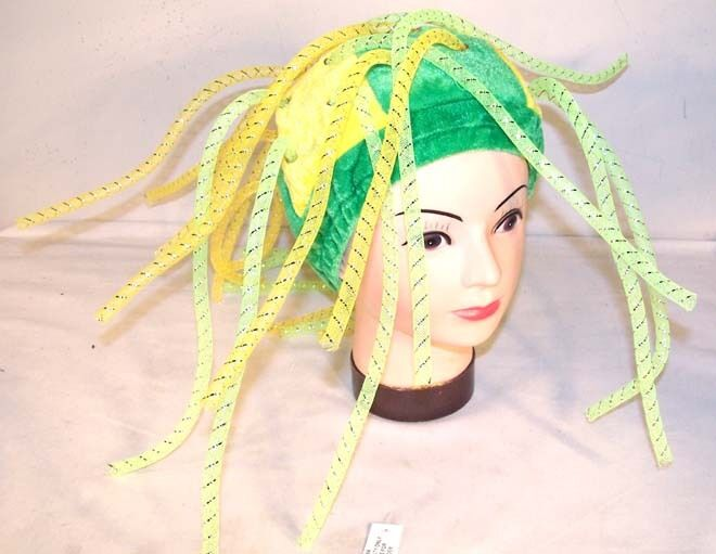 Green Amp Yellow Noodle Hat Crazy Party Hats Costume Caps Ebay