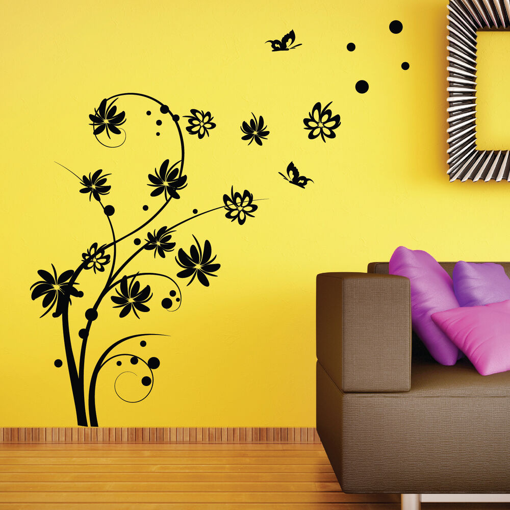 Large butterfly swirl flower wall stickers wall decal ebay for Butterfly wall mural stickers