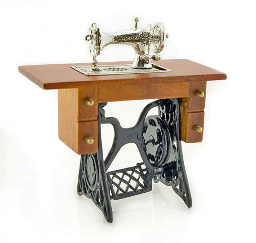 antique silver metal sewing machine table 1 12 doll 39 s house dollhouse miniature ebay. Black Bedroom Furniture Sets. Home Design Ideas
